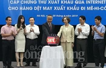 bo cong thuong cap chung thu xuat khau qua internet cho hang det may sang mexico