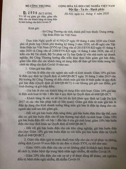 bo cong thuong chinh thuc co van ban ve giam gia giam tien dien cho khach hang
