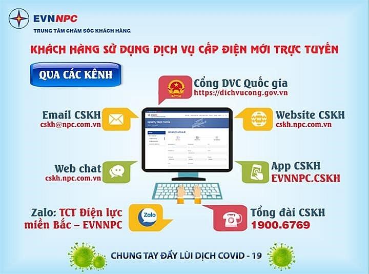 EVNNPC hướng dẫn khách hàng sử dụng dịch vụ điện cấp điện mới trực tuyến, phòng chống Covid-19