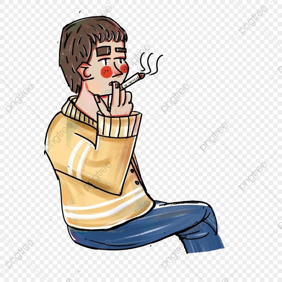 4050-pngtree-cartoon-minimalist-smoking-boy-decoration-material-png-image-4375231