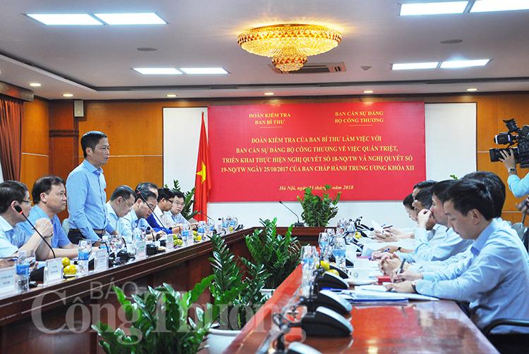 Ban cán sự đảng Bộ Công Thương nghiêm túc quán triệt, thực hiện các Nghị quyết của Trung ương