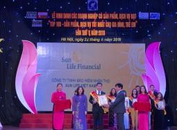 """Sun Life Việt Nam đạt danh hiệu """"Top 100 sản phẩm, dịch vụ tốt nhất cho gia đình, trẻ em' năm 2018"""