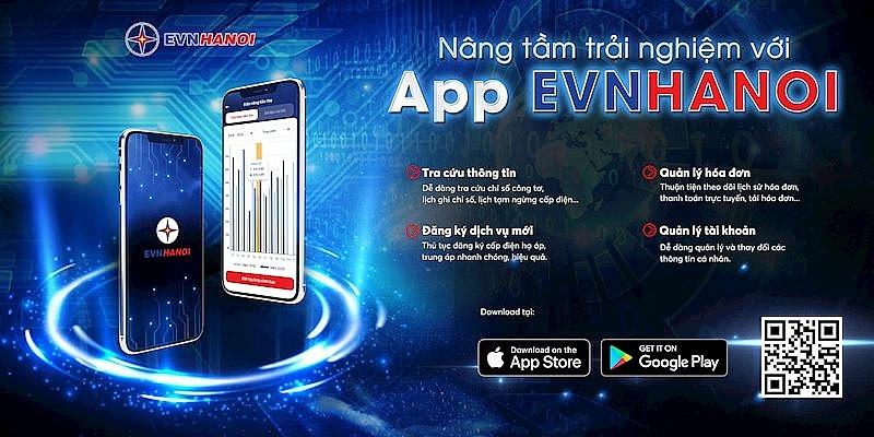 Giao dịch trực tuyến thông qua App EVNHANOI trên thiết bị di động sẽ mang lại nhiều tiện lợi cho khách hàng sử dụng điện