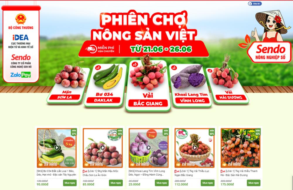 Phiên chợ nông sản Việt trực tuyến trên sàn TMĐT Sendo