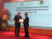 Cổ phiếu MSC của CTCP Dịch vụ Phú Nhuận lên sàn HNX