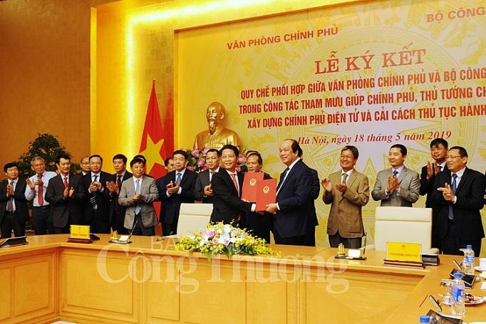 bo cong thuong va van phong chinh phu phoi hop tham muu xay dung chinh phu dien tu va cai cach thu tuc hanh chinh
