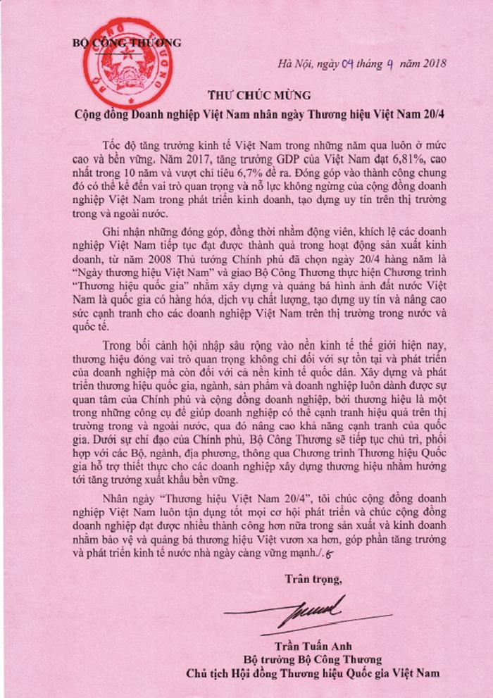 Bộ trưởng Trần Tuấn Anh gửi thư chúc mừng cộng đồng doanh nghiệp nhân ngày Thương hiệu Việt Nam