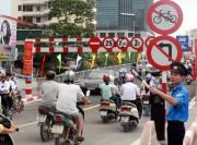 Phân luồng giao thông phục vụ thi công cầu vượt Láng Hạ - Thái Hà