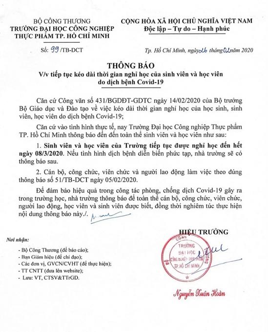 hai truong dai hoc thuoc bo cong thuong keo dai thoi gian ghi hoc cho sinh vien them 1 tuan