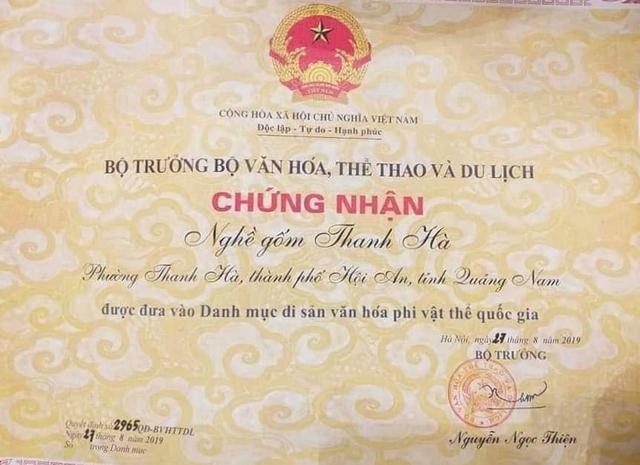 hoi an nghe gom thanh ha duoc cong nhan la di san van hoa phi vat the cap quoc gia