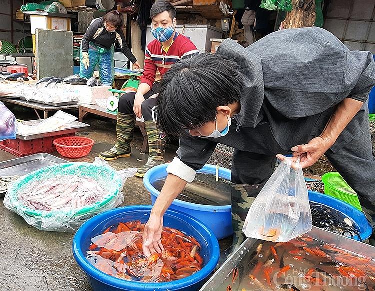 Tiểu thương tại chợ đầu mối phía Nam đang bắt cá chép để bán cho người tiêu dùng