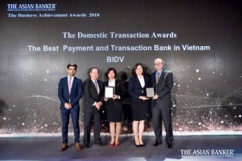 """BIDV được vinh danh """"Ngân hàng cung cấp dịch vụ thanh toán tốt nhất Việt Nam và """"Ngân hàng giao dịch tốt nhất tại Việt Nam"""""""