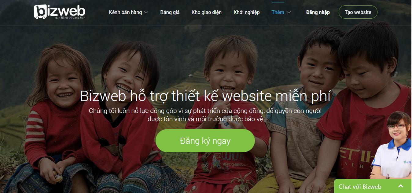 Bizweb hỗ trợ thiết kế website miễn phí cho các tổ chức