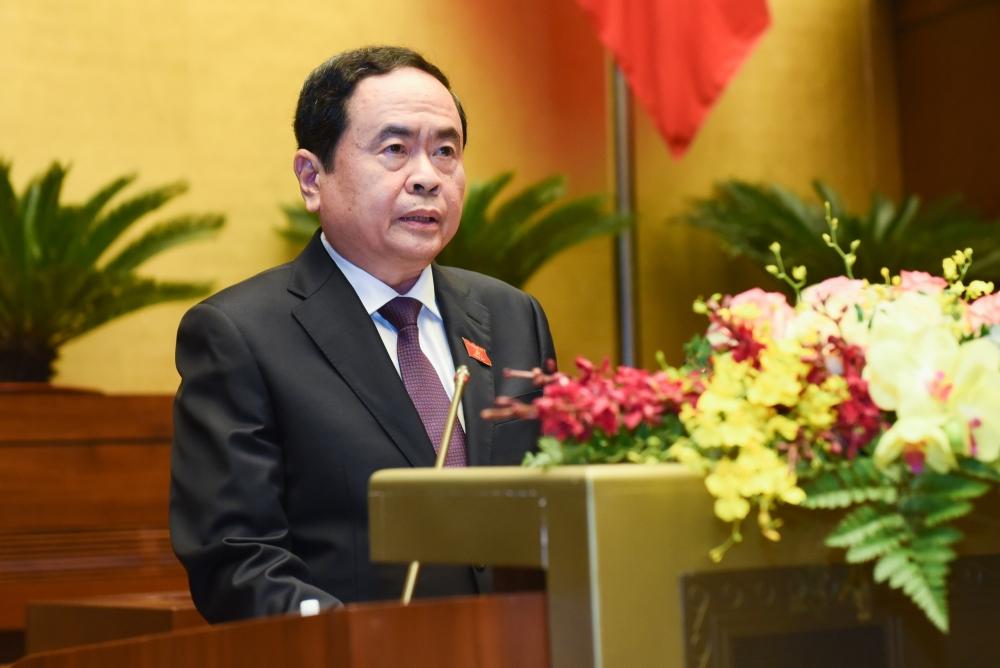 Chủ tịch Ủy ban Trung ương MTTQ Việt Nam Trần Thanh Mẫn trình bày báo cáo tổng hợp ý kiến, kiến nghị của cử tri và Nhân dân
