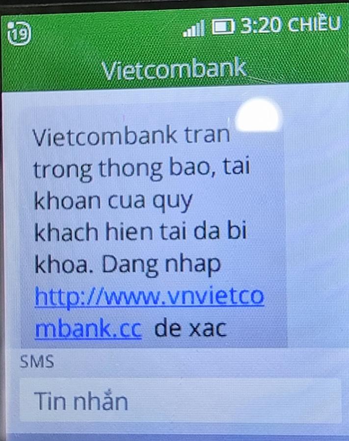 Vietcombank tiếp tục cảnh báo hiện tượng mạo danh tin nhắn thương hiệu