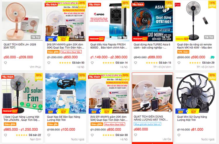 Các loại quạt dùng pin năng lượng mặt trời gần đây được bán rộng rãi trên các trang thương mại điện tử